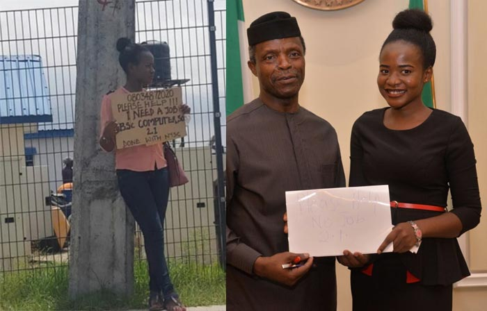Unemployed Nigerian woman who carried placard in search of job speaks out
