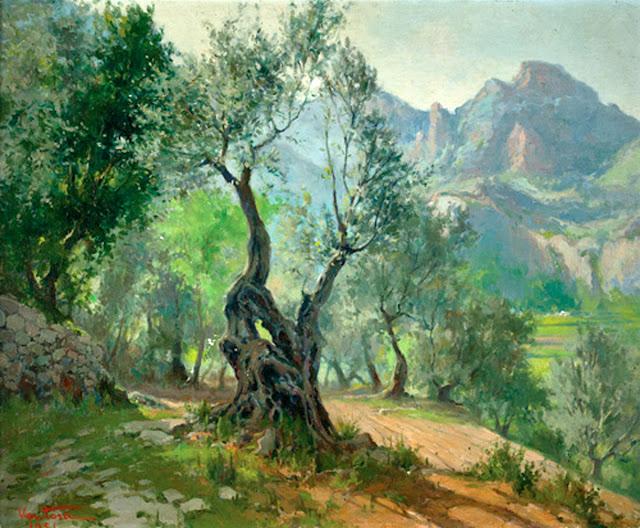José Ventosa Domenech, Olivo en Mallorca,  Mallorca en Pintura, Paintirng of Cadaqués, Mallorca pintada, Paisajes de Mallorca, Mallorca en Pintura