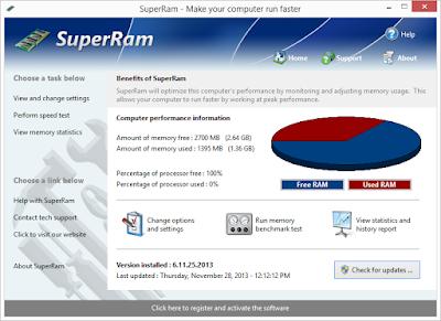 تنزيل برنامج superram لتحسين اداء الكمبيوتر