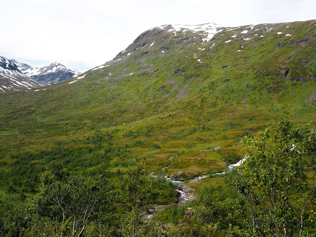 řeka, chatky, příroda, Storutladalen, Norsko, Jotunheimen