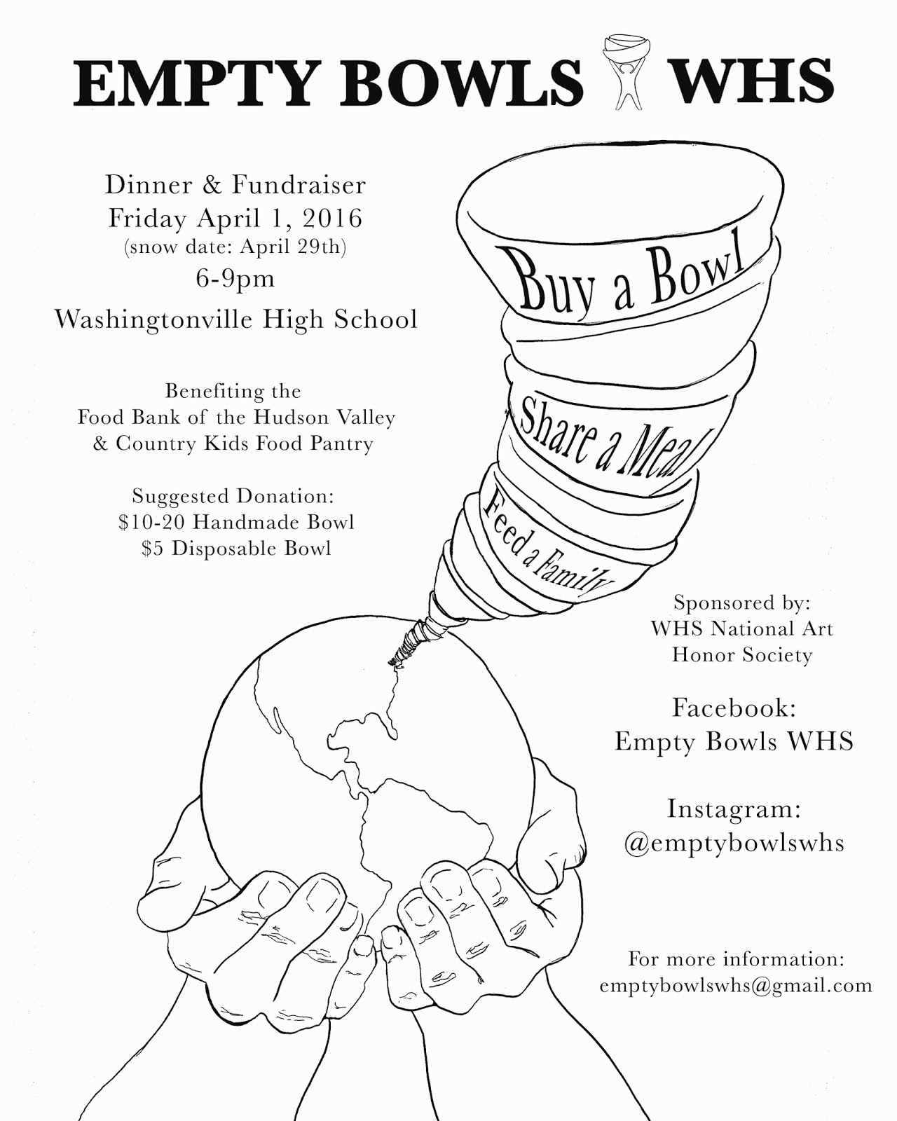 Poster design for class 5 - Both The Empty Bowls Whs Logo The Little Figure With Holding The Bowls Above Its Head And The Poster Design Were Created By Students From The National Art