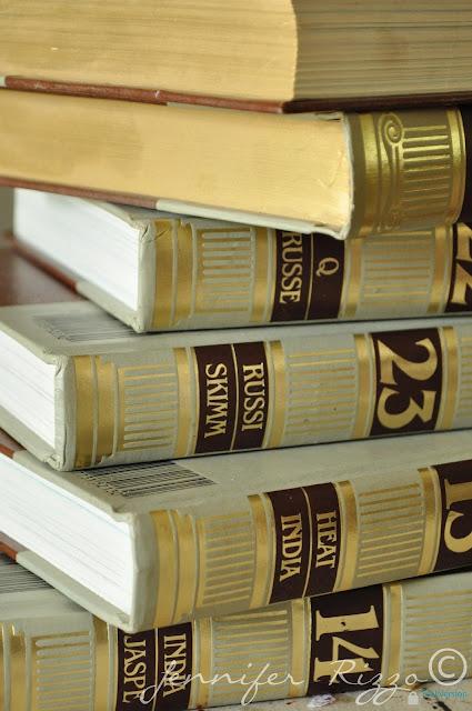 repurpose those old encyclopedias