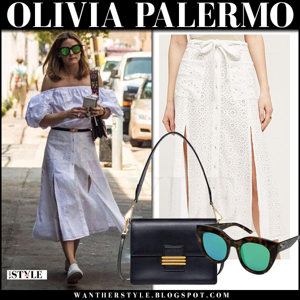Olivia Palermo in white off shoulder top and white button midi skirt tularosa what she wore july 2017 street fashion
