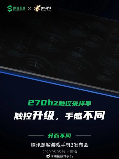 270Hz dokunmatik örnekleme oranına sahip Black Shark 3 oyuncu akıllı telefonu