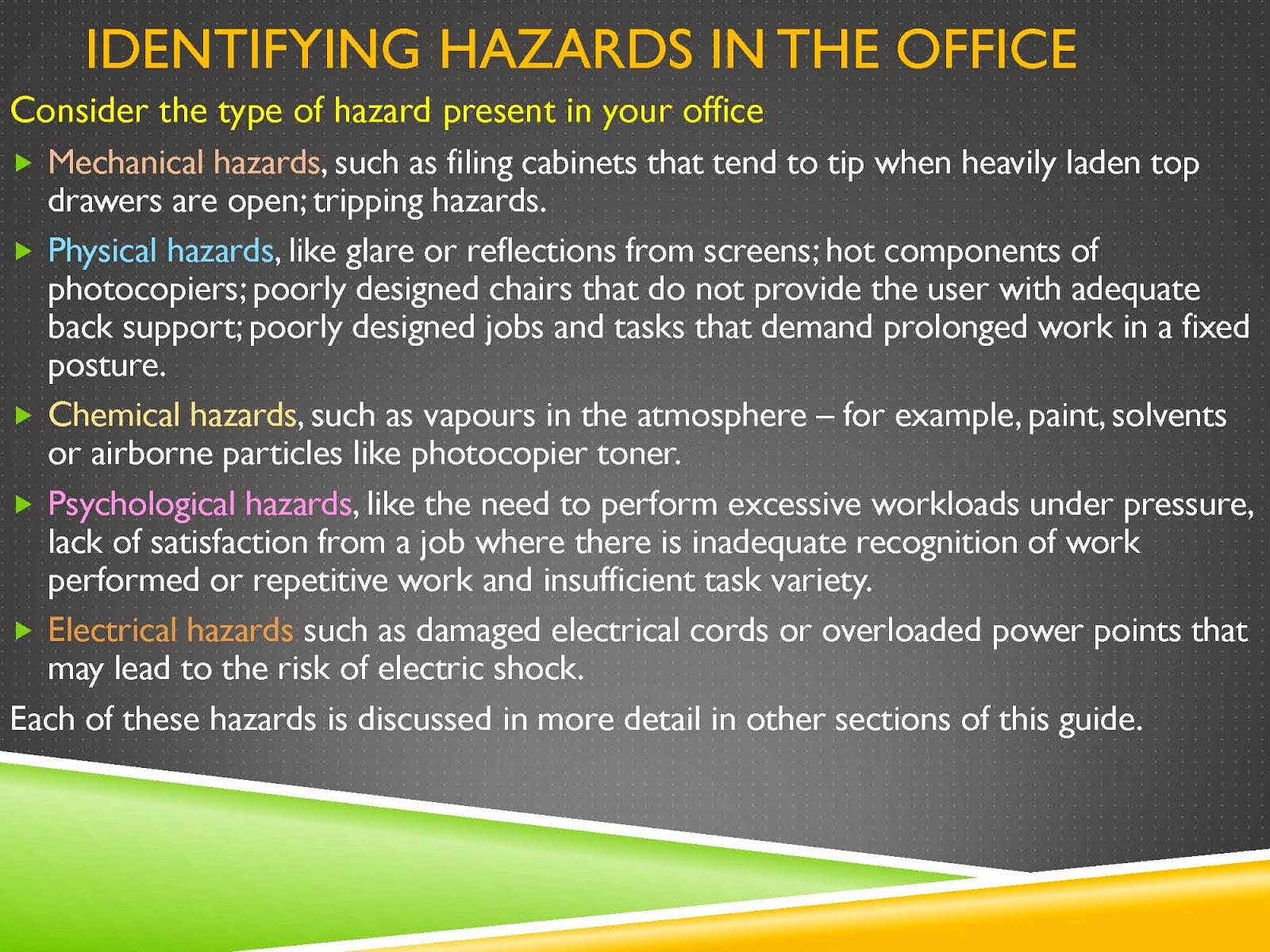 HAZARDS IN THE WORK ENVIRONMENT