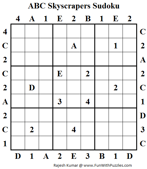 ABC Skyscrapers Sudoku Puzzle (Daily Sudoku League #150)