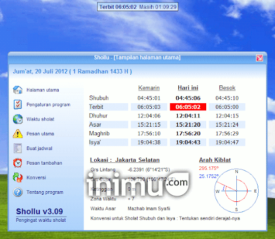 [DOWNLOAD] Software Pengingat Waktu Sholat (Shollu)