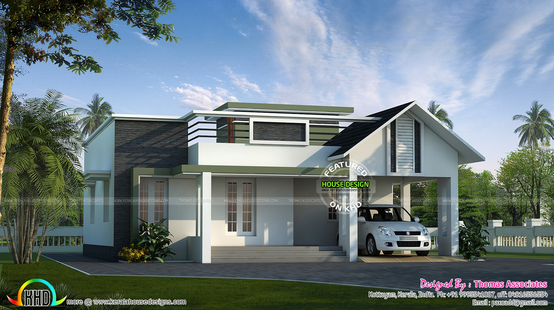 Small simple 1200 sq ft house kerala home design and for Minimalist house design kerala