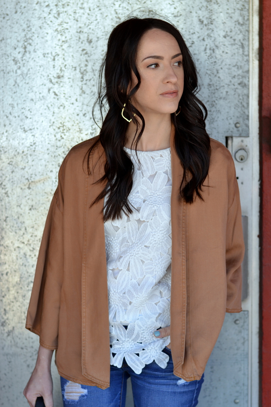Casual Spring White Floral Top and Cognac Jacket