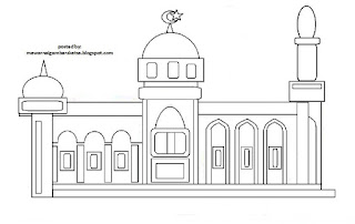 Gambar Sketsa Mewarnai Masjid Terbaru 201710