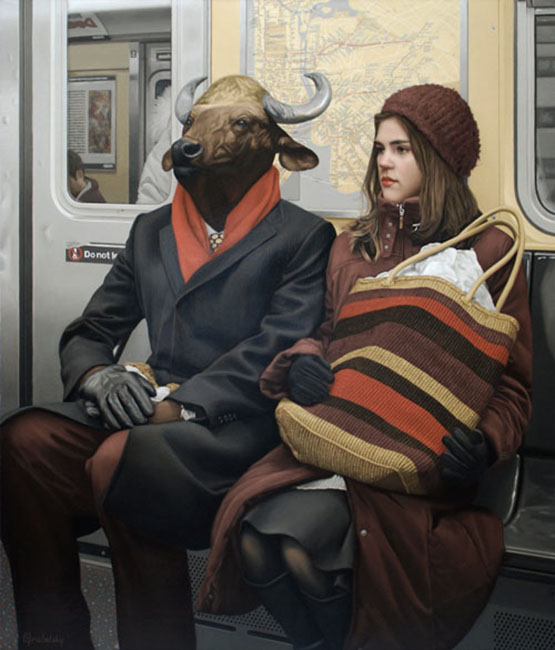 06-Alexandra-and-The-Minotaur-Matthew-Grabelsky-Paintings-of-Animal-Human-Hybrids-on-the-Subway-www-designstack-co