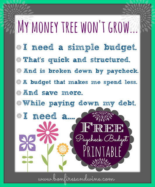 Bonfires and Wine Livin\u0027 Paycheck to Paycheck - Free Printable - free budget form