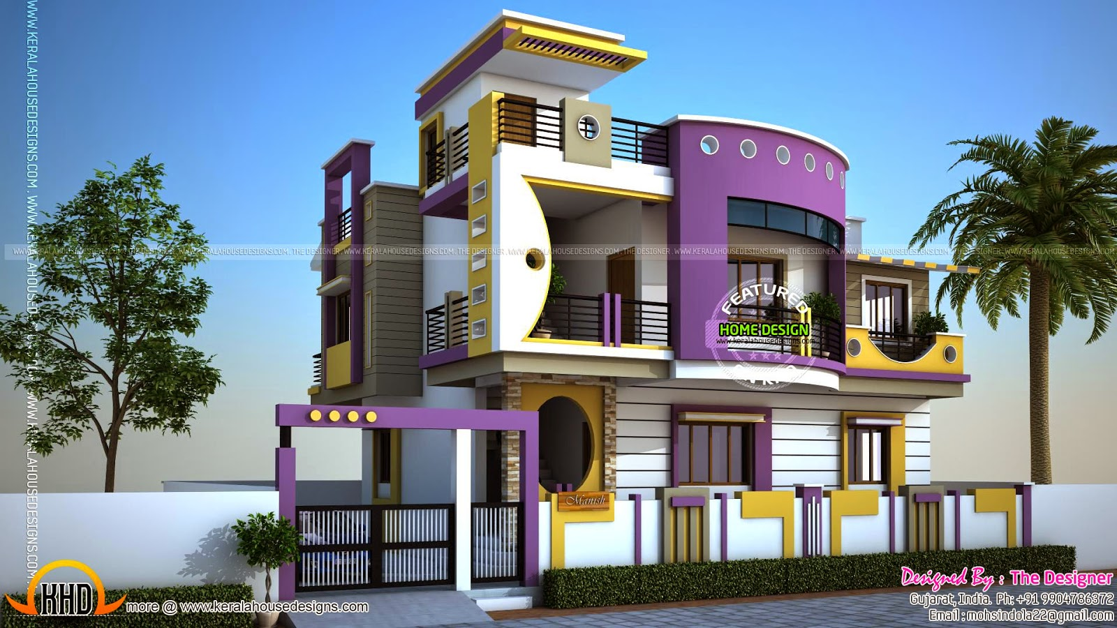 House exterior designs in contemporary style kerala home for Modern house front view design