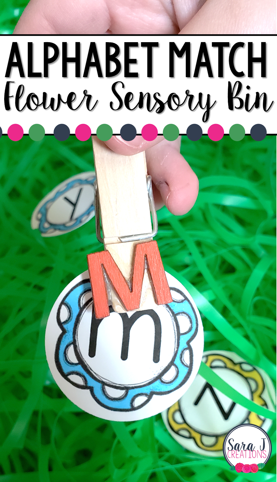 Alphabet match flower sensory bin