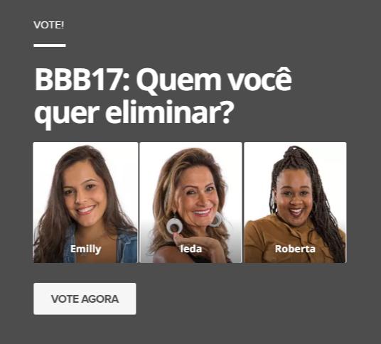 #BBB17: Paredão triplo com Emilly, Ieda e Roberta