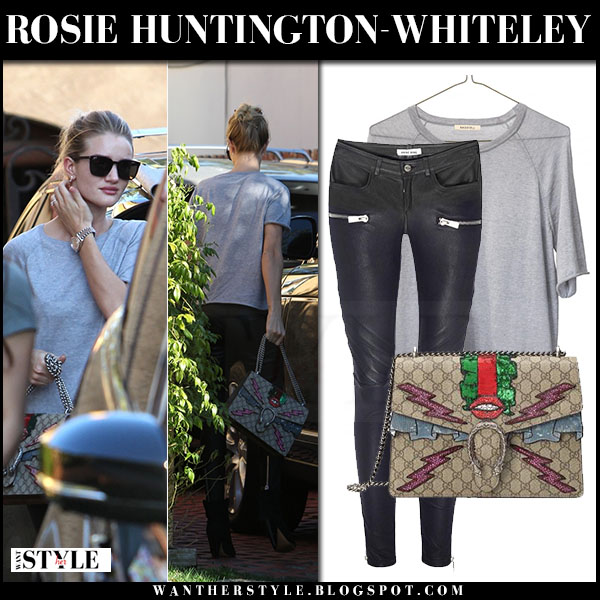 Rosie Huntington-Whiteley in grey t-shirt with black leather pants anine bing and gucci dyonisus bag what she wore model style