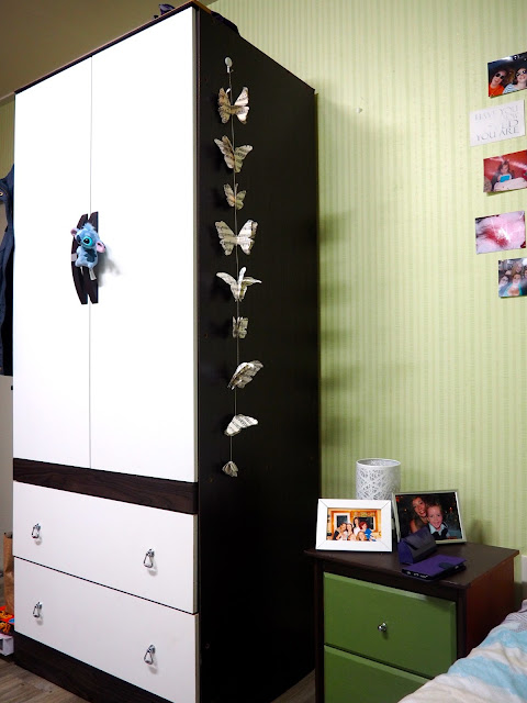 Storage space and decorations inside studio apartment in Busan, South Korea