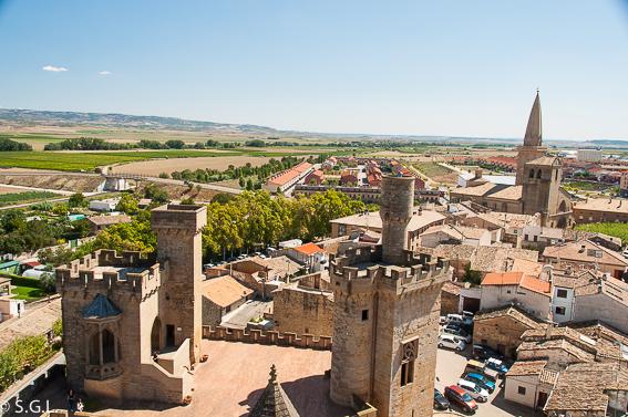Vistas desde la torre del homenaje en el Palacio real de Olite