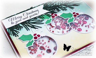 Diana Nguyen, Impression Obsession, Christmas, shaker card, Memory Box, ornament