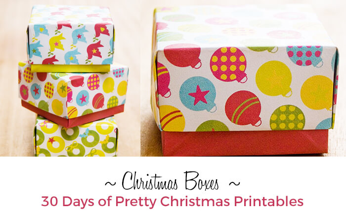 Print and Fold Christmas Boxes from Pickle Bum. 30 Days of Pretty Christmas Printables.