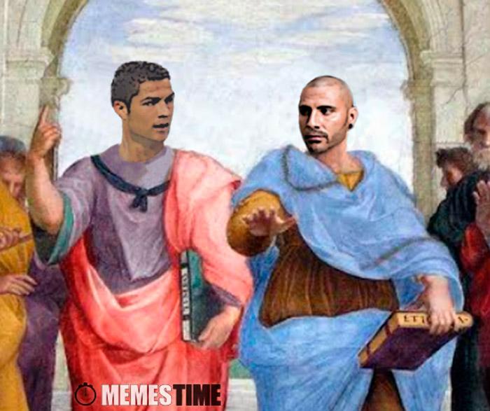 """Meme o Fresco do Rafael """"A academia Grega"""" com os rostos do Cristiano Ronaldo e o Ricardo Quaresma – Estão a ver-se Gregos… e isso é mau?"""