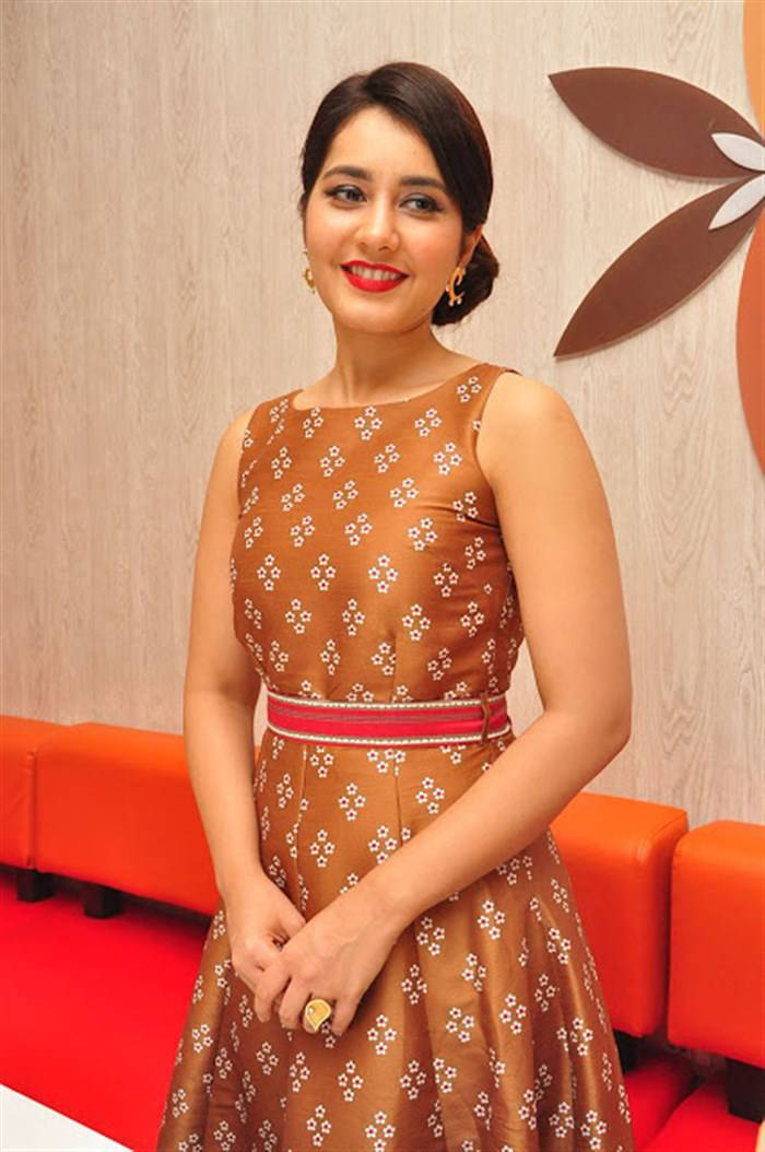 Actress Rashi Khanna In Yellow Dress At Restaurant Launch