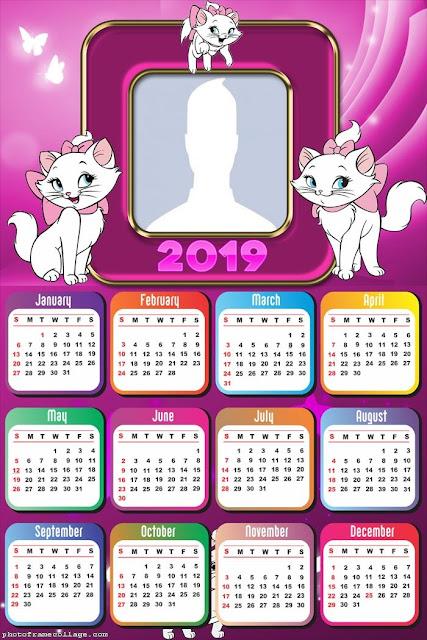 Calendario 2019 de Marie de los Aristogatos para Imprimir Gratis.