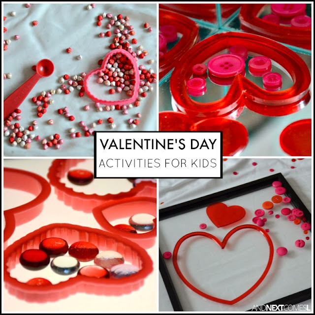 Valentine's Day activities for kids, including Valentine's Day themed sensory bins for toddlers and preschoolers and learning activities from And Next Comes L