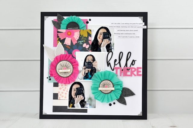 How to make crepe paper flowers for a scrapbooking layout. A scrapbooking layout designed by Jen Gallacher for SCT Magazine with products from Fancy Pants Design. #scrapbooker #jengallacher #sctmagazine #fancypantsdesign