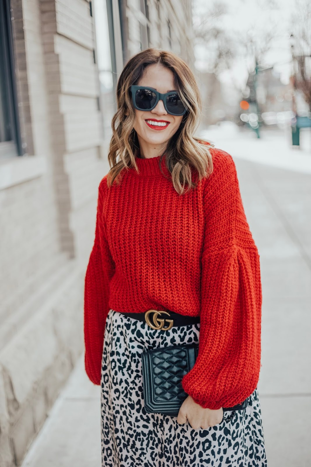 Leopard Skirt and Red Sweater