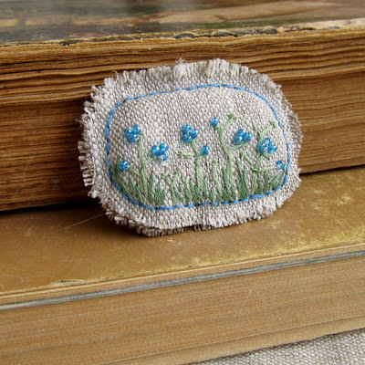 бисер, blue flowers, brooch