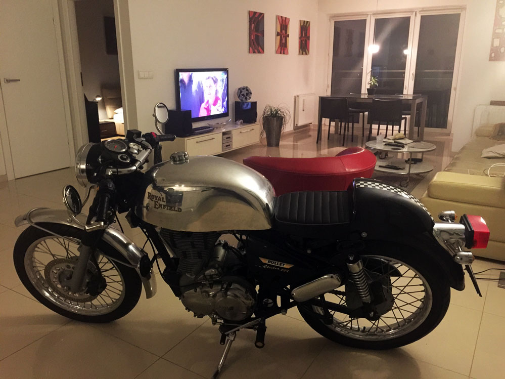 Motorcycle in living room.