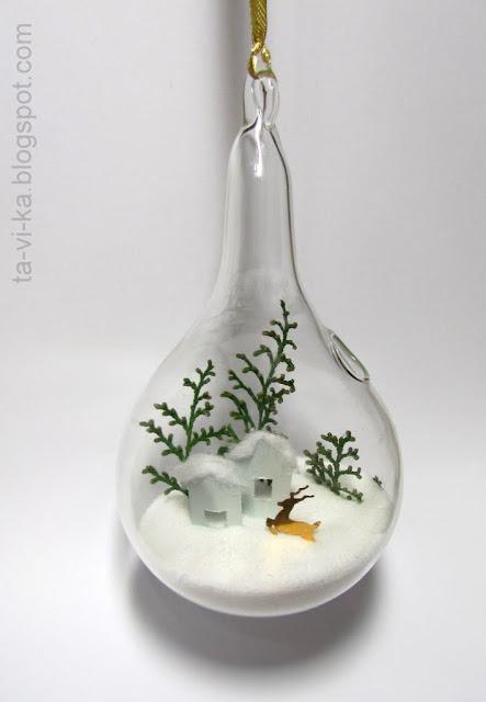 Зимний пейзаж в стеклянном елочном шарике