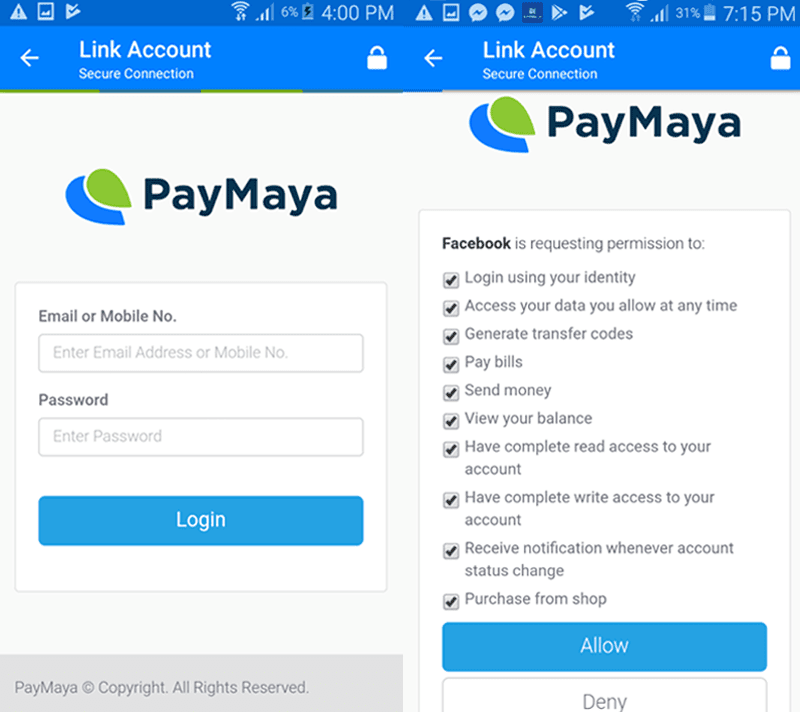 Log in to your PayMaya account and allow access permission when prompted