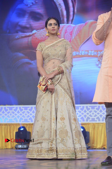 Actress Rakul Preet Singh Stills in Golden Embroidery saree at Rarandoi Veduka Chuddam Audio Launch .COM 0001.jpg