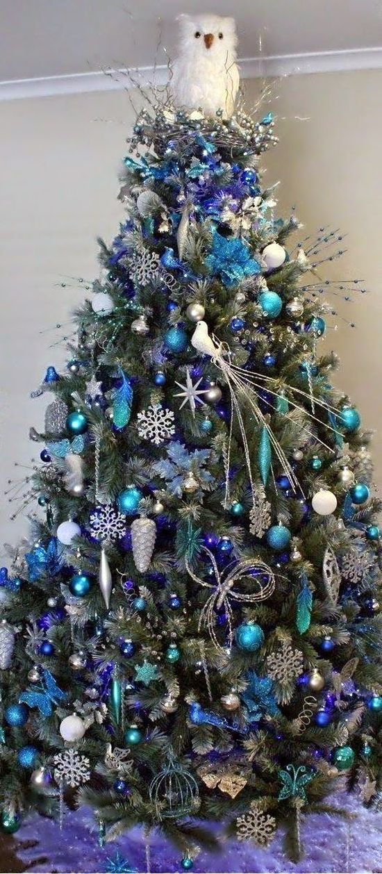 blue Christmas tree with funny owl top