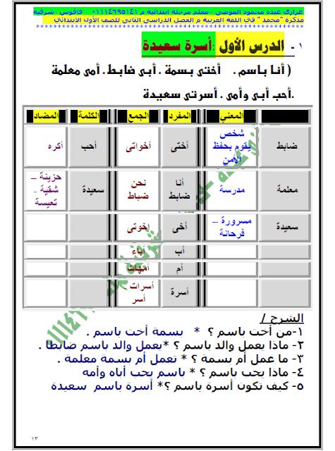 مذكرة عربي للصف الأول الإبتدائي الترم الثاني 2020