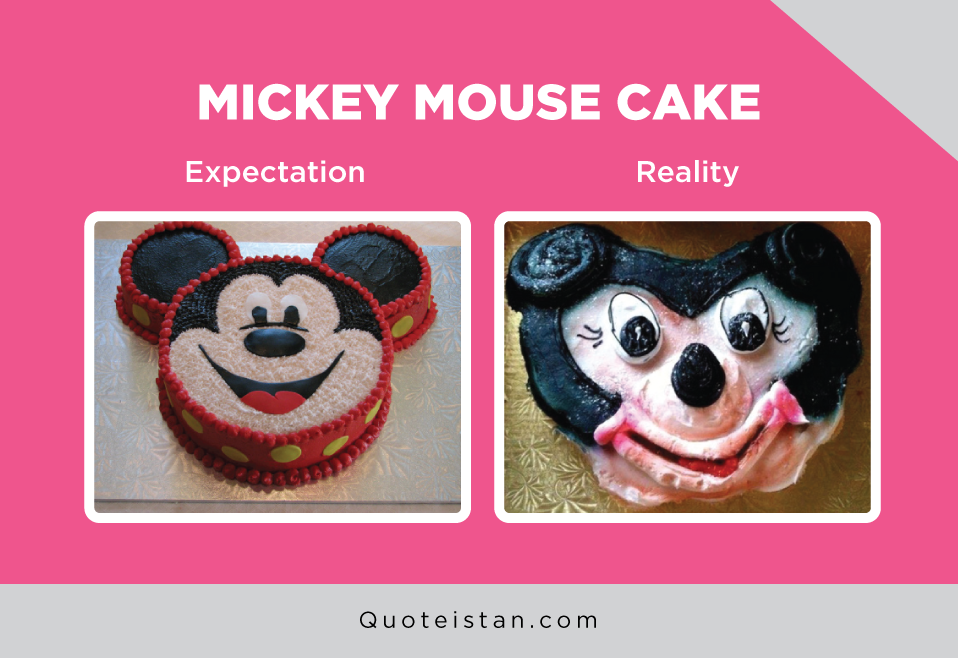 Expectation Vs Reality: Mickey mouse cake