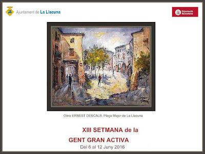 LA LLACUNA-PINTURA-ANOIA-AJUNTAMENT-PLAÇA MAJOR-PAISATGES-ACTIVITATS-GENT GRAN-QUADRES-ARTISTA-PINTOR-ERNEST DESCALS