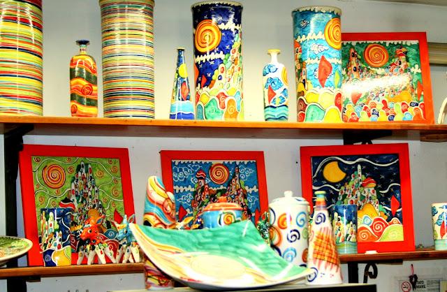 ceramiche, vasi, colori, disegni, piatti colorati