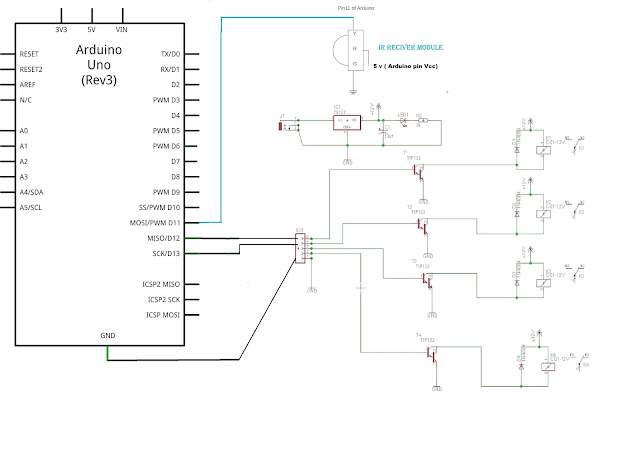 Circuit arduino project Control of home appliances from TV remote