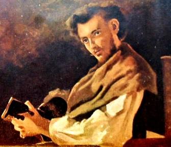 Imagen de Gustavo Adolfo Bécquer sentado con un libro en la mano