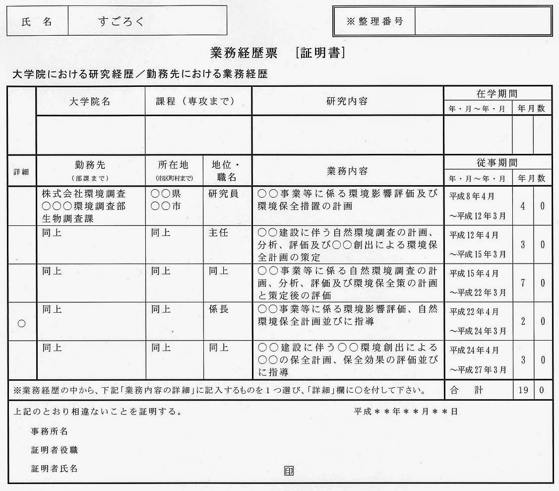 技術士受験のすごろく語録 ~建設環境~: 受験申込書の作成に ...