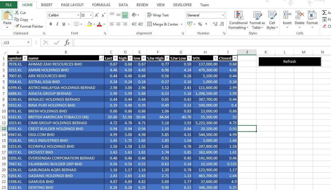 Excel Macros for Live Stock List