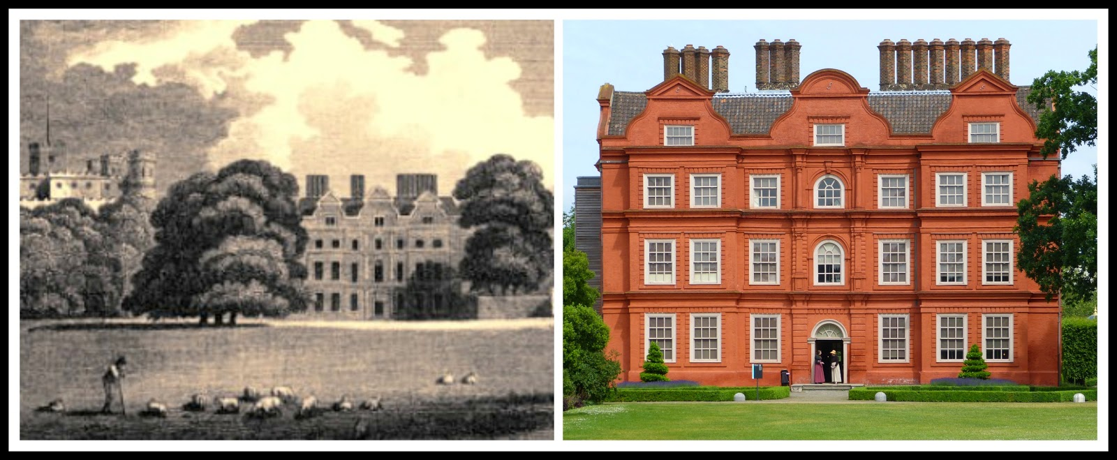 Left: The old palace at Kew from Memoirs of HM Sophia Charlotte   of Mecklenburg Strelitz, Queen of Great Britain by WM Craig (1818)  Right: Kew Palace today © Andrew Knowles