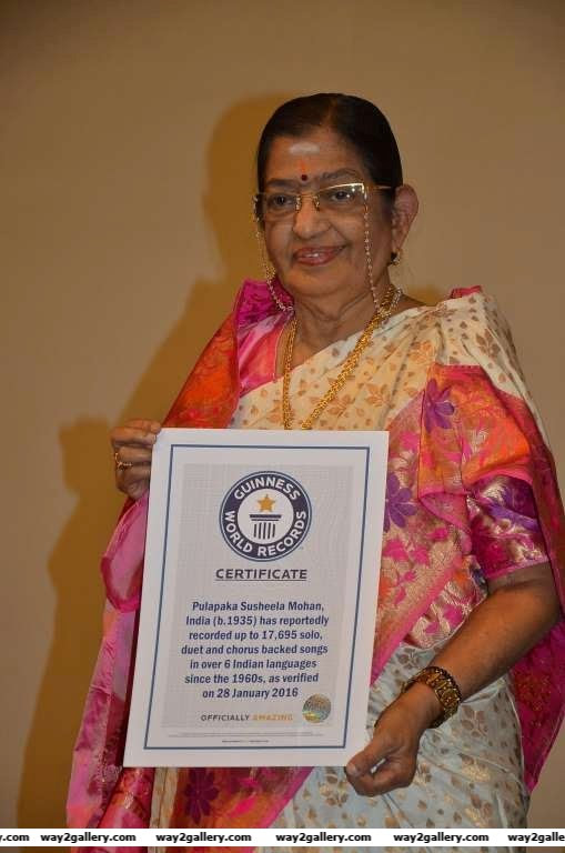According to IANS legendary playback singer P Susheela has become the Guinness World Records title holder for the highest number of solo duet and chorus backed songs