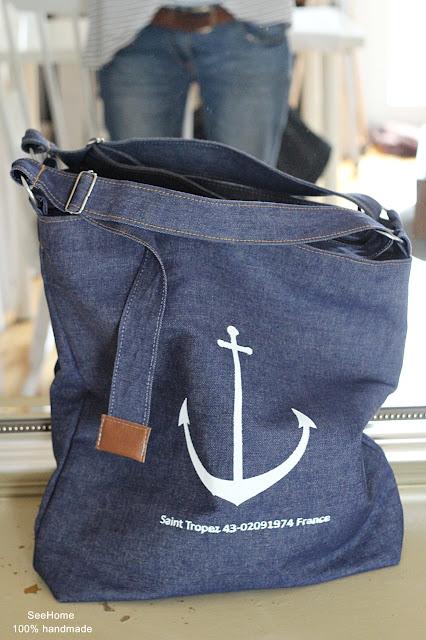 Styl marynistyczny,Kotwica,Torba z napisami,Jeans,Torba jeansowa,Bag,Bags,