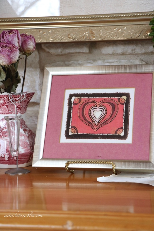 Vintage Valentines display tips for framed batik fabric Valentine