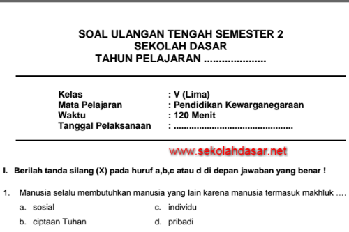 Soal Latihan Uts Pkn Kelas 5 Sd Semester 2 Sekolahdasar Net