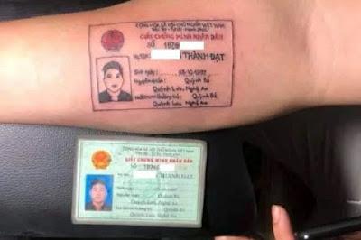Viral! Pria di Vietnam Mentato Lengan Dengan Gambar KTP